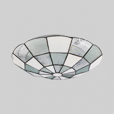 Simple Style White Ceiling Lamp Domed Shade Art Glass Flush Ceiling Light for Dining Room