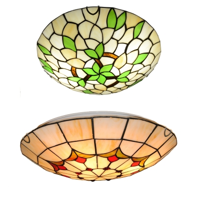 Stained Glass Flower/Leaf Ceiling Light Dining Room Tiffany Rustic Flush Light in Beige