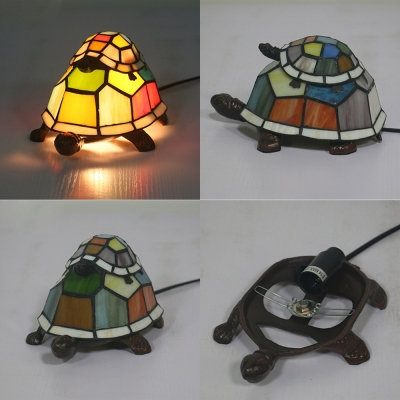 Stained Glass Turtle Table Lamp Child Bedroom 1 Bulb Tiffany Lovely Night Light with Plug-In Cord
