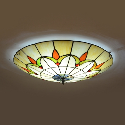 Stained Glass Umbrella Flush Ceiling Light with Lily/Petunia Rustic Style Ceiling Lamp for Hallway