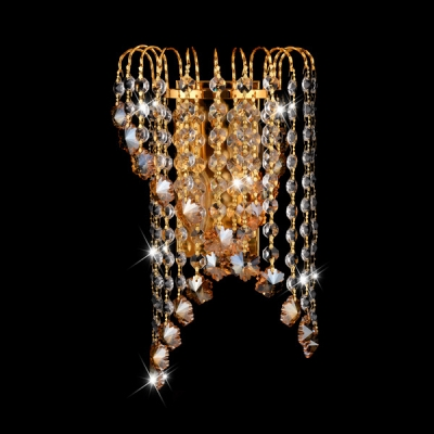 Stair Corridor Wall Light Metal Two Lights Modern Stylish Gold Wall Lamp with Crystal Bead