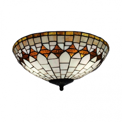 Tiffany Stylish White Flush Mount Light Bowl Shade Art Glass Ceiling Lamp for Kitchen Dining Room