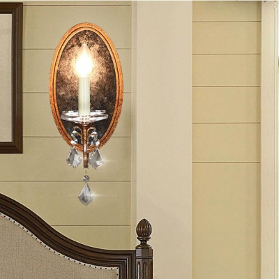 1 Light Candle Wall Light Vintage Style Resin Sconce Light with Clear Crystal for Cafe Bar