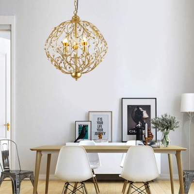 Candle Restaurant Hanging Light with Orb Branch & Crystal Metal 3 Lights Elegant Chandelier in Gold