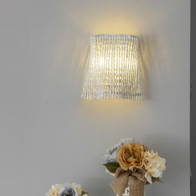 Aluminum Hollow Wall Light with Clear Crystal Modern Simple Sconce Light in Silver for Hallway Restaurant
