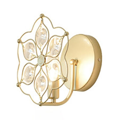 Classic Gold Finish Wall Light Candle Single Light Metal Sconce Light with Crystal Flower for Cottage