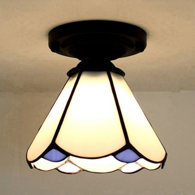 Conical Shade Corridor Flush Ceiling Light Art Glass One Head Tiffany Style Ceiling Lamp in White