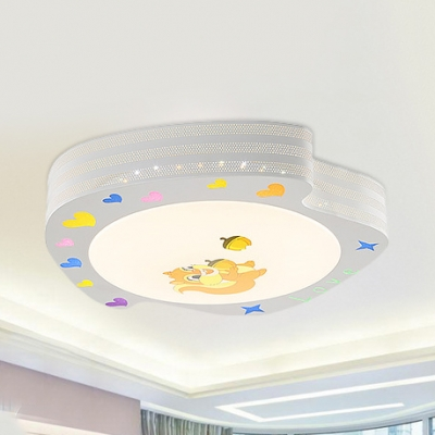 Cute White LED Ceiling Lamp Squirrel Metal Acrylic Stepless Dimming/Warm/White Flush Mount Light