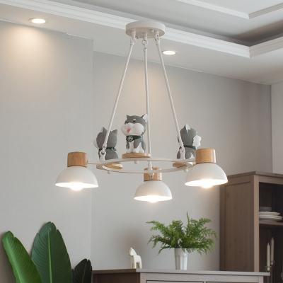 Gray/Orange Doddy Pendant Light 3/6 Lights Nordic Stylish Resin Chandelier for Study Room