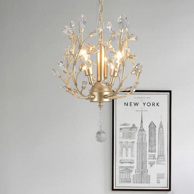 Luxurious Black/Champagne/Gold Chandelier Candle 3 Lights Metal Hanging Light with Twig & Crystal Leaf for Shop
