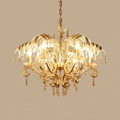 Luxurious Gold Pendant Light with Teardrop Crystal & Leaf Deco Candle 3/6 Heads Metal Chandelier for Cafe