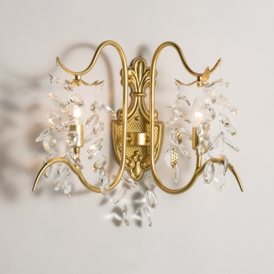 Luxurious Gold Sconce Lamp Candle 2 Bulbs Metal Wall Light with Crystal Leaf for Bedroom Stair