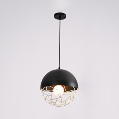 Metal Sphere Caged Pendant Lighting Contemporary 1 Light Hanging Lamp in Black/White