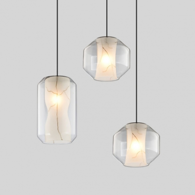 Modern Simple Clear Glass Hanging Pendant Stone Inner Shade Single Drop Light for Cafe Restaurant