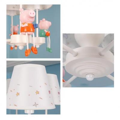 Sitting Piggy Chandelier 6 Heads Lovely Metal Pendant Light in White for Kindergarten