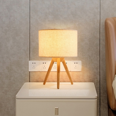 Tripod Wood Base Bedside Table Lamp Contemporary 1 Light Desk Lamp with Fabric Drum Shade
