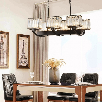Vintage Style Black Pendant Lamp Rectangle Shade 6/8 Lights Metal Chandelier with Crystal for Villa