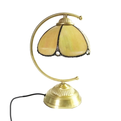 Vintage Tiffany Dome Table Light Glass 1 Light Beige Night Light for Study Room Bedroom