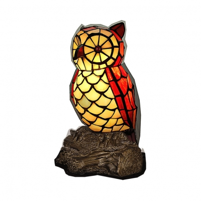Tiffany Vivid Owl Desk Light 1 Light Stained Glass Night Light in Red for Living Room