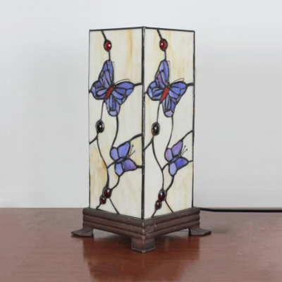 Hotel Rectangle Desk Light Stained Glass 1 Light Tiffany Traditional Night Light with Plug-In Cord