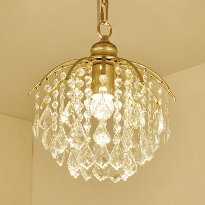 Luxurious Orb Pendant Light Metal 1 Light Gold Mini Chandelier with Clear Crystal for Restaurant