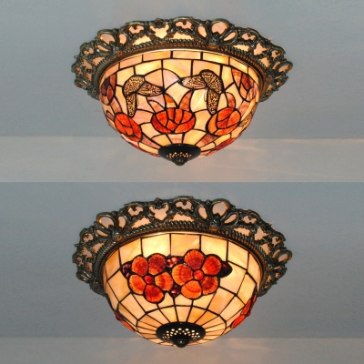 Rustic Tiffany Bowl Ceiling Mount Light With Erfly Flower Stained