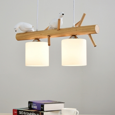 2/3 Lights Cylinder Island Pendant with Resin Bird Nordic Milk Glass Island Light in White for Kitchen