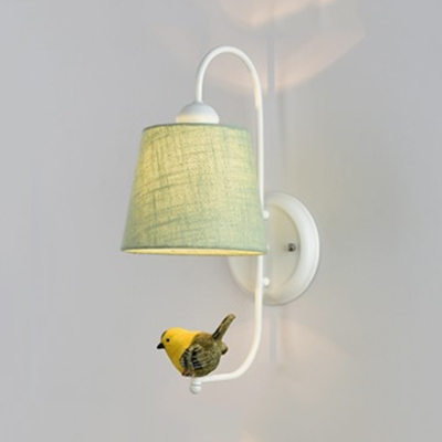 Modern Troupial Wall Light with Fabric Shade Metal Wall Sconce in White/Green for Study Room