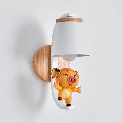 Metal Trapezoid Wall Light with Dancing Piggy Kid Bedroom 1 Light Cartoon Sconce Light in White