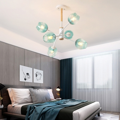 6/8 Lights Bud Chandelier Contemporary Glass Ceiling Pendant in Amber/Blue for Cloth Shop Kitchen