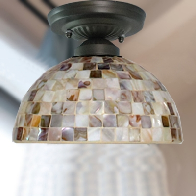 Bathroom Kitchen Bell/Dome Ceiling Mount Light Glass 1 Head Mosaic Ceiling Lamp in Beige