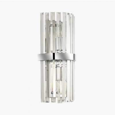 Chrome Cylinder Sconce Light 2 Lights Luxurious Clear Crystal Wall Lamp for Bedroom Foyer