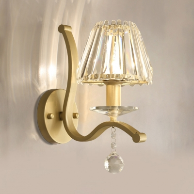 Classic Tapered Shade Wall Light Single Light Metal Sconce with Crystal in Gold for Stair