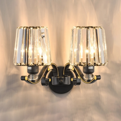 Clear Crystal Tapered Shade Wall Light Bedroom 1/2 Lights Vintage Stylish Sconce Light in Black
