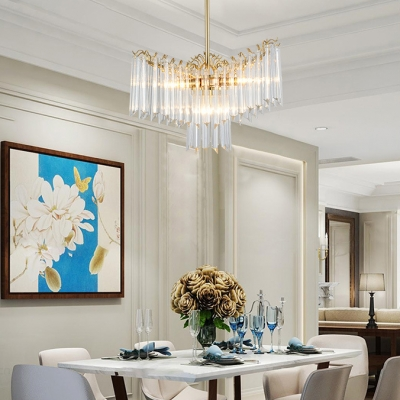 Clear Striking Crystal Chandelier 3 Lights Luxurious Style Pendant Light in Gold for Restaurant