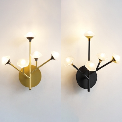 Corridor Bedroom Twig Wall Lamp Metal 5 Heads Modern Stylish Black/Gold Wall Lamp with Hexagon Shade
