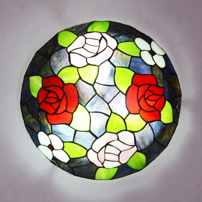 Domed Living Room Ceiling Lamp with Rose Stained Glass Rustic Tiffany Flush Mount Light