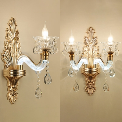 Elegant Candle Shape Sconce Light 1 2 Lights Metal Wall Lamp With Crystal In Gold For Hotel Villa Beautifulhalo Com