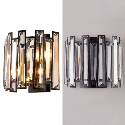 Fence Shape Bedroom Wall Sconce Striking Clear Crystal 2 Heads Wall Light in Black Finish