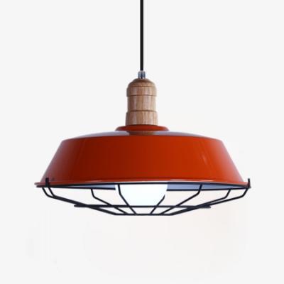 Warehouse Barn Pendant Light with Wire Frame Aluminum 1 Light Industrial Suspension Light