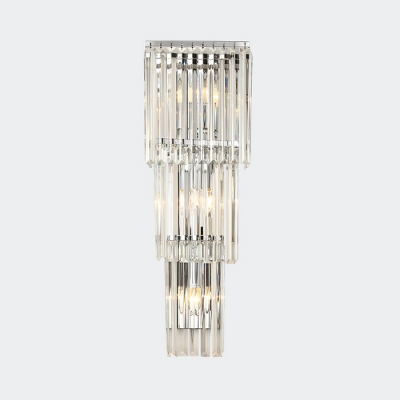 Linear Clear Crystal Wall Light Corridor Bathroom 3/4 Heads Contemporary Sconce Light in Chrome