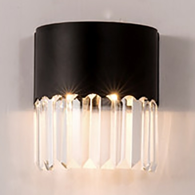 Metal Carved/Half-Round Wall Light Bedroom 1 Light Simple Style Wall Lamp with Clear Crystal in Black