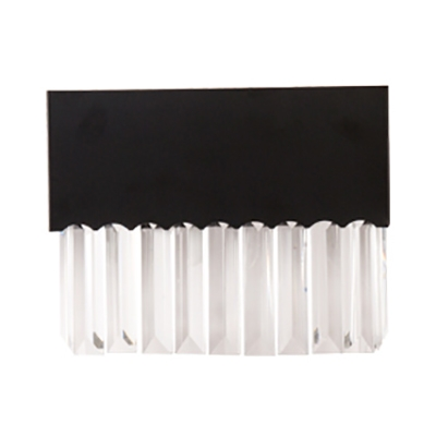 Metal Rectangle/Square Wall Light with Clear Crystal Modern Simple Sconce Light in Black for Stair