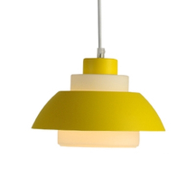 Nordic Style Tiered Design Hanging Lamp for Restaurant Acrylic Shade Single Pendant Lighting in Multi Colors