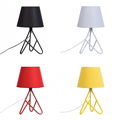 Nordic Tapered Shade Desk Light Fabric Shade Single Light Table Lamp in Black/Red/White/Yellow