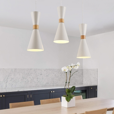 One Bulb Hourglass Hanging Lamp Nordic Style Metal Pendant Light in Gray/Green/White for Dining Room
