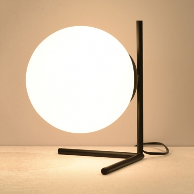 Post Modern Sphere Shade Desk Lamp For Bedside White Glass 1 Light Table Lamp In Black Gold Beautifulhalo Com