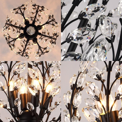Rustic Style Candle Chandelier with Crystal Leaf 4 Lights Wrought Iron Hanging Lamp in Black for Cafe