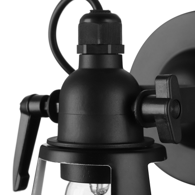Satin Black Single Light 1 Light Small LED Wall Lamp in Industrial Style