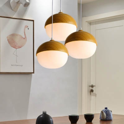 Simple Style White Ceiling Pendant Nut Shape One Light Glass Wood Suspension Light for Study Room